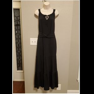 Talbots Black Knit Tiered Maxi Dress